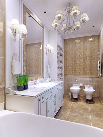 sconce: Bright bathroom classic style. Charming spacious bathroom with a large mirror. White bathroom furniture and mosaic wall tiles beige color. 3D render Stock Photo