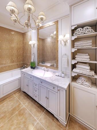 bathroom interior: Interior of provence bathroom. 3D render