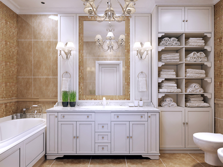 bathroom tiles: Furniture in classic bathroom. Cream colored bathroom with white furniture, great mirror with sconces and luxurious chandelier. Pleasing to the eye contrast of two colors. 3D render