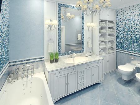 cuarto de ba�o: cuarto de ba�o interior art deco brillante. El amplio cuarto de ba�o con muebles blancos y fragmentos de la pared de mosaico. 3D rinden