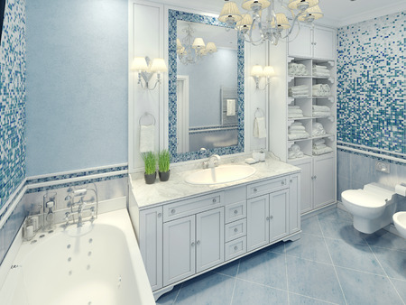 Bright art deco bathroom interior. The spacious bathroom with white furniture and fragments of mosaic wall. 3D render