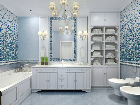 Furniture in classic blue bathroom. Blue colored bathroom with white furniture, great mirror with sconces and luxurious chandelier. Mix of tiles and textured plaster on walls pleasing to the eye. 3D render Stock Photo