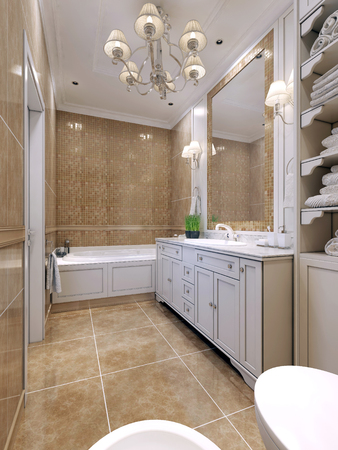 Bathroom art deco style. Classical bathroom with white furniture, a large mirror with mosaic frame. Double sconce above the sink. 3D render