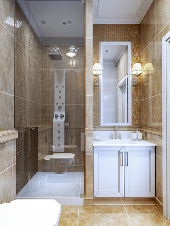 bathroom tiles: Design of modern bathroom. The combination of natural marble tiles and a small mosaic in the shower and around the mirror. Cosy modern design bathroom with limited space. 3D render Stock Photo