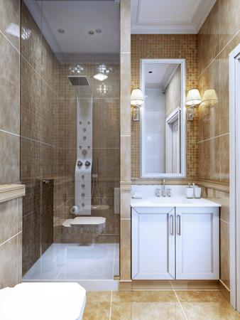 cuarto de baño: Diseño de baño moderno. La combinación de baldosas de mármol naturales y un pequeño mosaico en la ducha y alrededor del espejo. Acogedor moderno baño de diseño con espacio limitado. 3D rinden