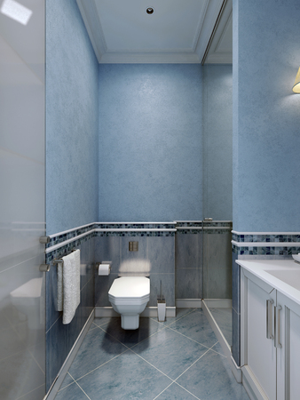 sconce: Interior of blue bathroom. 3D render Stock Photo