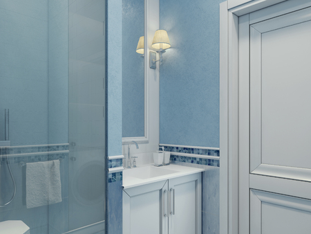 shower cubicle: Design of modern bathroom. Bathroom elegantly made blue. Shower cubicle with glass door. Plastered blue walls and white door. 3D render