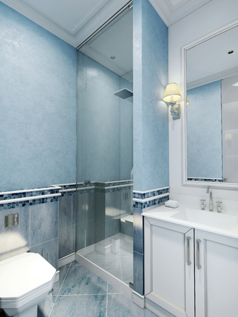 glass doors: Bathroom art deco style. Design of bathroom with using blue color. White furniture and a large window with a frame, a cozy little sconces. Plastered walls and blue marble floor tiles. 3D render Stock Photo