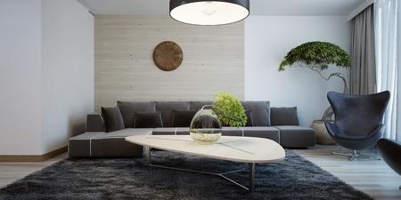 현대 거실의 아이디어. 결합 벽 장식. 어두운 가구와 빛 나무 테이블과 거실. 3D 렌더링 스톡 콘텐츠