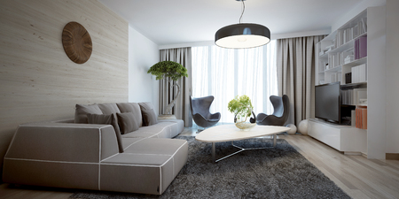 trend: Bright sitting room contemporary trend. 3D render