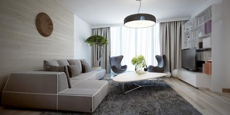 Luminoso soggiorno tendenza contemporanea. 3D render Archivio Fotografico - 46194821
