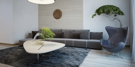 green sofa: Minimalist design of sitting room. Wide fabric sofa with cushions, egg chair and table, gray wool carpet. 3D render