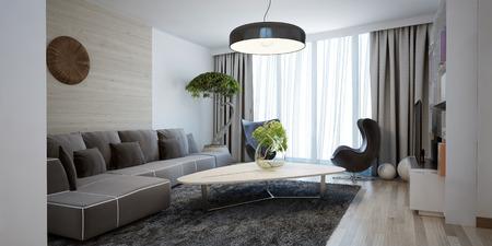 현대 라운지의 밝은 넓은 디자인. 미니멀 인테리어는 아름다운 넓은 거실입니다. 숨겨진 처마는 천장부터 바닥까지 내려 오는 대형 창문으로 예쁘다. 3