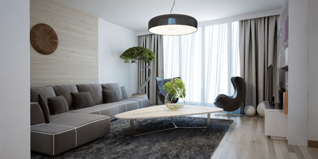 interior design living room: Bright spacious design of modern lounge. The minimalist interior is a beautiful spacious living room. Hidden cornices look beautiful with floor to ceiling windows. 3D render