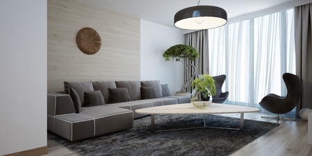 Bright lounge modern style. Spacious design room with a smooth wooden table, corner sofa and chairs. The combination of white and light brown wooden walls. 3D render. Фото со стока