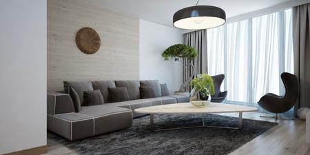 salone luminoso stile moderno. Ampia camera di design con un tavolo di legno liscio, divano e sedie angolo. La combinazione di bianchi e leggeri pareti di legno marrone. 3D render. Archivio Fotografico