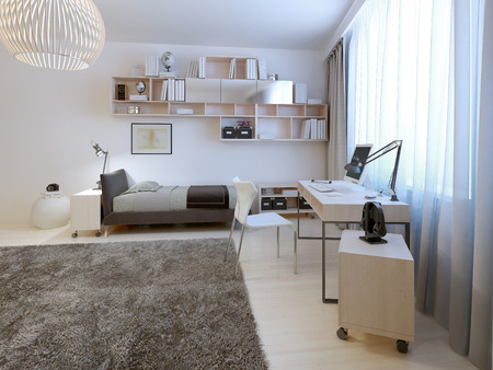 working area: Teenage room minimalist style. Neat bed with hanging shelves above it. Working area represented by a table of white wood with a metal stand. White walls, light wood flooring. 3D render
