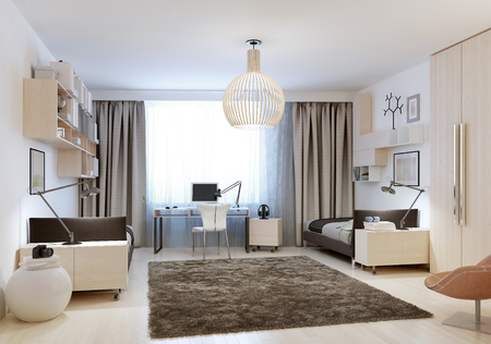 carpet and flooring: Bedroom with two single beds in minimalism style. 3D render