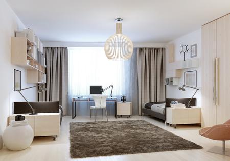 chambre à coucher: Chambre à coucher avec deux lits simples dans le style de minimalisme. 3D render Banque d'images