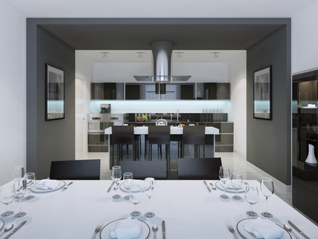 Kitchen And Dining Room Ideas Contemporary Styled With A Separate Island Bar 3D