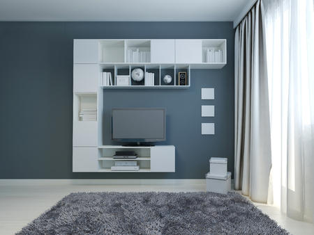 cabinet: Empty living room with cabinet and lcd tv.  3D render
