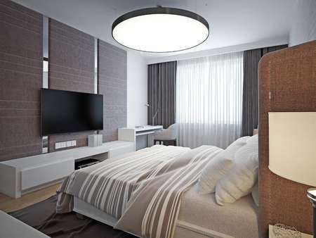 view of a comfortable bedroom: Panoramic view of nice cozy bedroom. Spacious, elegant room with good lighting and comfortable soft design. 3D render Stock Photo