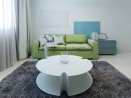 color design: Kitsch styled lounge with white walls. 3D render Stock Photo