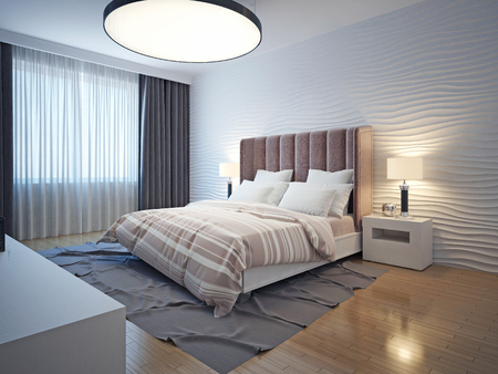 Light tones modern bedroom interior. Bedroom with brown wood flooring, bedside table and a gray carpet. Wavy plaster walls. 3D render