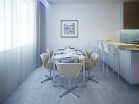 유행: 여섯 사람을 위해 테이블을 역임. 3D 렌더링 스톡 콘텐츠