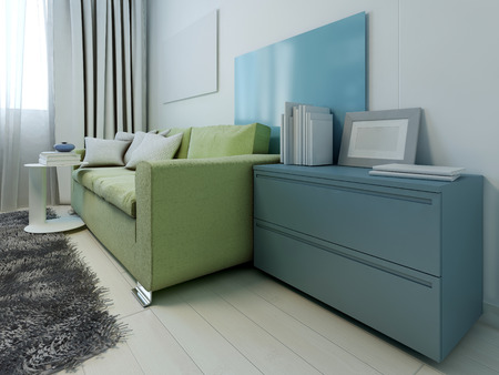 modern living room design: Colored furniture in contemporary lounge. 3D render
