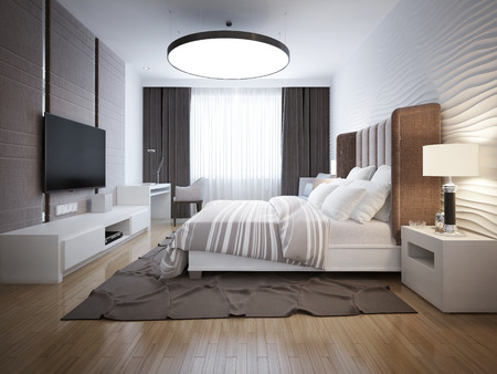 Bright design of contemporary bedroom. Bedroom with white furniture, light wood parquet floor. Beautiful decorative walls and large windows with black curtains. 3D render