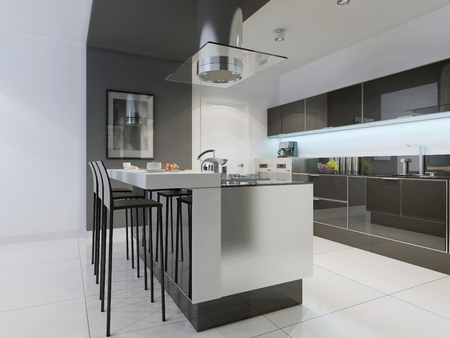Design of modern kitchen with island. Flat panel cabinets, black glossy furniture, ceiling lights, and white colored flooring. 3D render Stock Photo