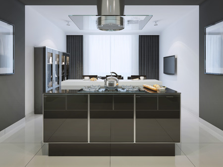 fits in: Idea of island bar at techno kitchen. Multifunctional working surface with a huge hood, which fits into the great interior. The whole interior is in black and white. 3D render Stock Photo