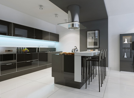 black appliances: Idea of minimalist kitchen . Modern kitchen with an undermount sink, flat-panel cabinets, black tone cabinets and paneled appliances. 3D render