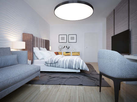 wall design: Bedroom modern style. A spacious bedroom with a large bed of white, behind which the wavy plastered wall. 3D render