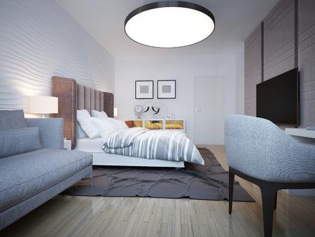 Chambre style moderne. Une chambre spacieuse avec un grand lit de blanc,  derrière lequel l\'ondulation plâtré mur. 3D render