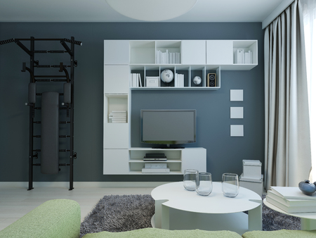 kitsch: Teen lounge with navy walls modern style. 3D render