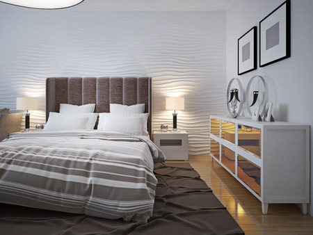 sideboard: Modern bedroom with sideboard trend. 3D render