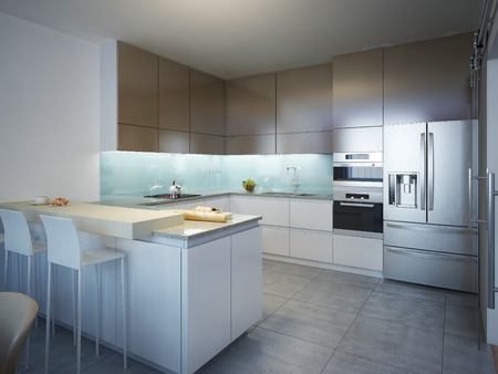 Idea of contemporary kitchen . Kitchen with white and brown matt accessories. Floor made of gray tiles.  3D render Stock Photo