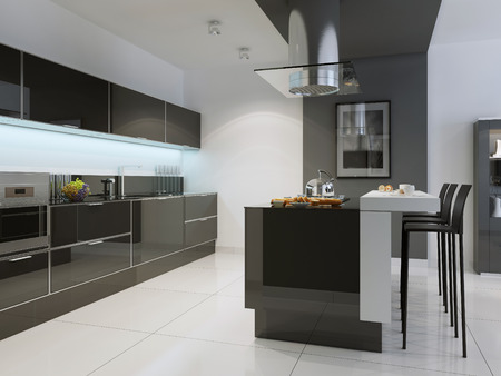 glass panel: Idea of kitchen techno style with island bar. Black furniture, white walls and flooring. Modern bar white with contrasting black chairs. 3D render Stock Photo