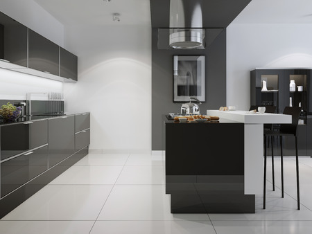 Bright kitchen with a dark furniture. White wall with black decorative transition to the dining room. 3D render Stockfoto