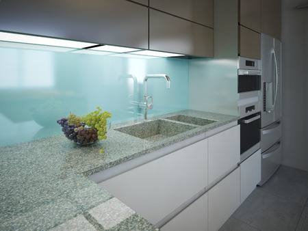 Modern kitchen clean interior design. Marble working area with a light blue wall and built-in lighting. Cabinets white and brown colors, built-in appliances. 3D render