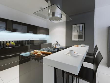 trend: Black and white kitchen trend. 3D render Stock Photo