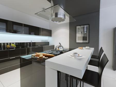 Black and white kitchen trend. 3D render Banque d'images