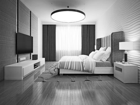 유행: 흑백 아트 데코 침실. 3D 렌더링 스톡 콘텐츠