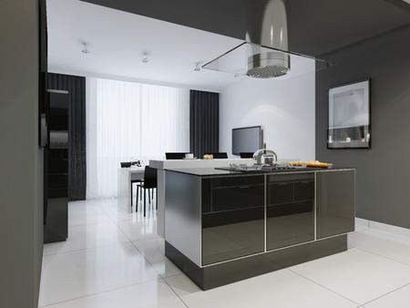 kitchen island: Minimalism style kitchen interior in monochrome tones. 3D render