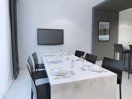 tv wall: Black and white dining room trend. Dining with dining table set for six people. Hanging TV on the wall. 3D render