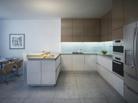 glass panel: Design of bright modern kitchen with bar. 3D render