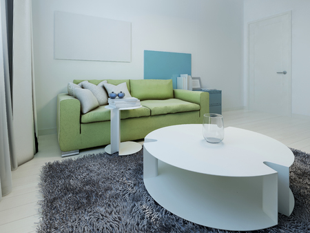 kitsch: Spacious interior of kitsch living room. Room with white walls and light wood flooring. Green sofa with dark blue cabinet. White table and stand in the form of water lilies. 3D render Stock Photo