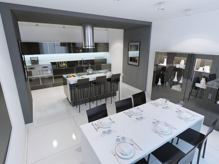 Panoramic view of modern and minimalist kitchen. 3D render